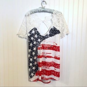NWT DRESSFO Americana American Fladg Lace Top